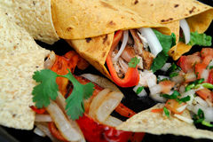 Close-up Chicken Wrap And Chips Stock Photography