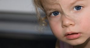 Close up child. Close up of the face of a small girl, lateral in the picture, hair blows over one eye Royalty Free Stock Images