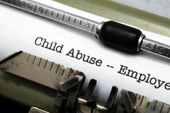 Child abuse form. Close up of Child abuse form Stock Images