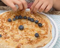 Crepes with Blueberries Royalty Free Stock Photos