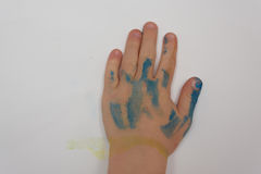 Close up of a child& x27;s hand after they have done some painting Royalty Free Stock Photography