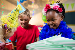 Close up of children with gifts Royalty Free Stock Photography