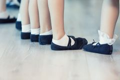 Close Up Of Children`s Ballet Feet royalty free stock photos