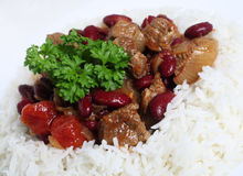 Close-up on chilli stew in a bed of rice Royalty Free Stock Image