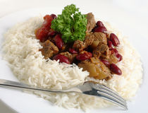 Close-up on chilli stew in a bed of rice Royalty Free Stock Photo
