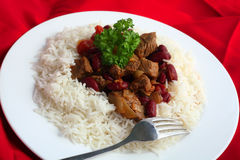 Close-up on chilli stew in a bed of rice Stock Photo
