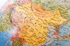 Close-up of China. On the globe royalty free stock photos
