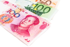 Close up of China Yuan Renminbi note against EURO Stock Photos