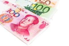 Close up of China Yuan Renminbi note against EURO Stock Photos