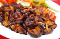 Close up chinese food from mushroom fried Royalty Free Stock Photography