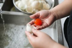 Close up of chinese golden salted egg yolk Royalty Free Stock Photography