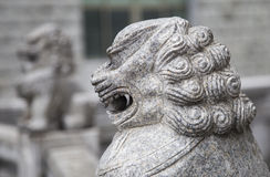 Close up of a Chinese lion statue Stock Photography