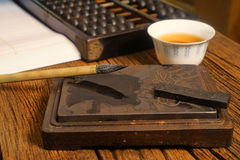 Close up of chinese old shop, focus on the calligraphy Stock Photography