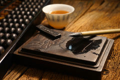 Close up of chinese old shop, focus on the calligraphy Royalty Free Stock Image