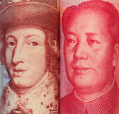 Close look of Chinese and Swedish banknotes Royalty Free Stock Images