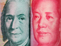 close look of Chinese and Swedish banknotes Stock Photo