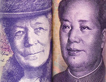 close look of Chinese and Swedish banknotes Royalty Free Stock Photography
