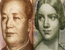 close look of Chinese and Swedish banknotes Royalty Free Stock Image
