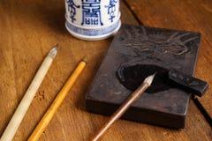 Close up of Chinese Writing Brush Royalty Free Stock Image