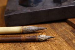 Close up of Chinese Writing Brush Royalty Free Stock Photography