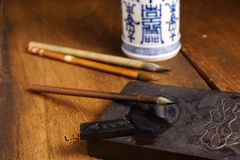 Close up of Chinese Writing Brush Stock Photos
