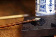 Close up of Chinese Writing Brush Stock Images