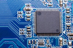 Close up of the chip on computer motherboard Royalty Free Stock Photography