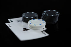 Close-up of chips and aces Royalty Free Stock Image