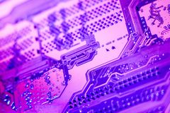 A violet circuit board close up