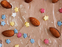 Close/up of chocholate cake with almonds and candies Royalty Free Stock Photo