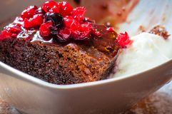 Close-up on chocolate cake with forest fruits Royalty Free Stock Images