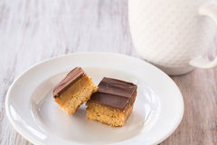 Close Up Chocolate Caramel Millionaire Bars Candy Cookies Royalty Free Stock Image
