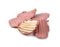 Close up of chocolate coated potato chips Royalty Free Stock Images