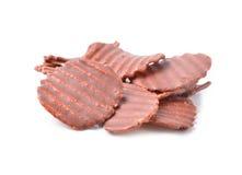 Close up of chocolate coated potato chips Stock Image