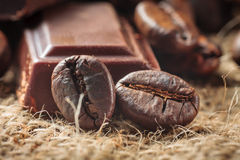 Close up of chocolate and coffee beans Stock Photo