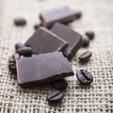 Close up of chocolate and coffee beans Stock Image