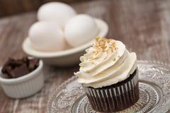 Close Up Chocolate Cupcake With Eggs Stock Photos