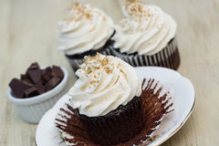 Close Up Chocolate Cupcakes With White Vanilla Icing Stock Images
