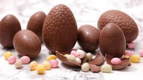 Chocolate easter egg. Close up on chocolate easter egg royalty free stock photo