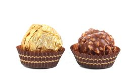 Close up of chocolate gold bonbon. Stock Images