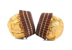 Close up of chocolate gold bonbon. Stock Photos
