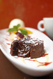 Close up chocolate lava cake Royalty Free Stock Photo