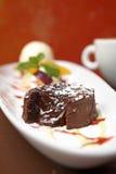 Close up chocolate lava cake Royalty Free Stock Photo