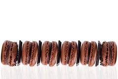 Close-up of chocolate macarons Royalty Free Stock Photography