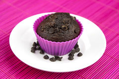 Close up of chocolate muffins on a wooden placemat Stock Photography