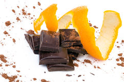 Close-up of chocolate pieces with orange Stock Photography