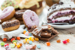 Close up of chocolate and sweets on table Royalty Free Stock Photo