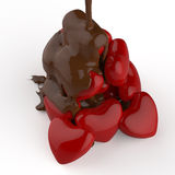 Close up chocolate syrup leaking over heart shape symbol Stock Image