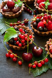 Close up of chocolate tartlets with chocolate cream, fresh strawberries, raspberries, blueberries, red currants and cherries. On black wooden background Stock Photography