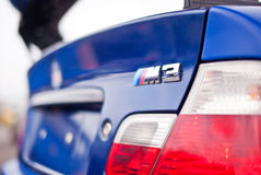 Close-up chome BMW M3 logo royalty free stock images